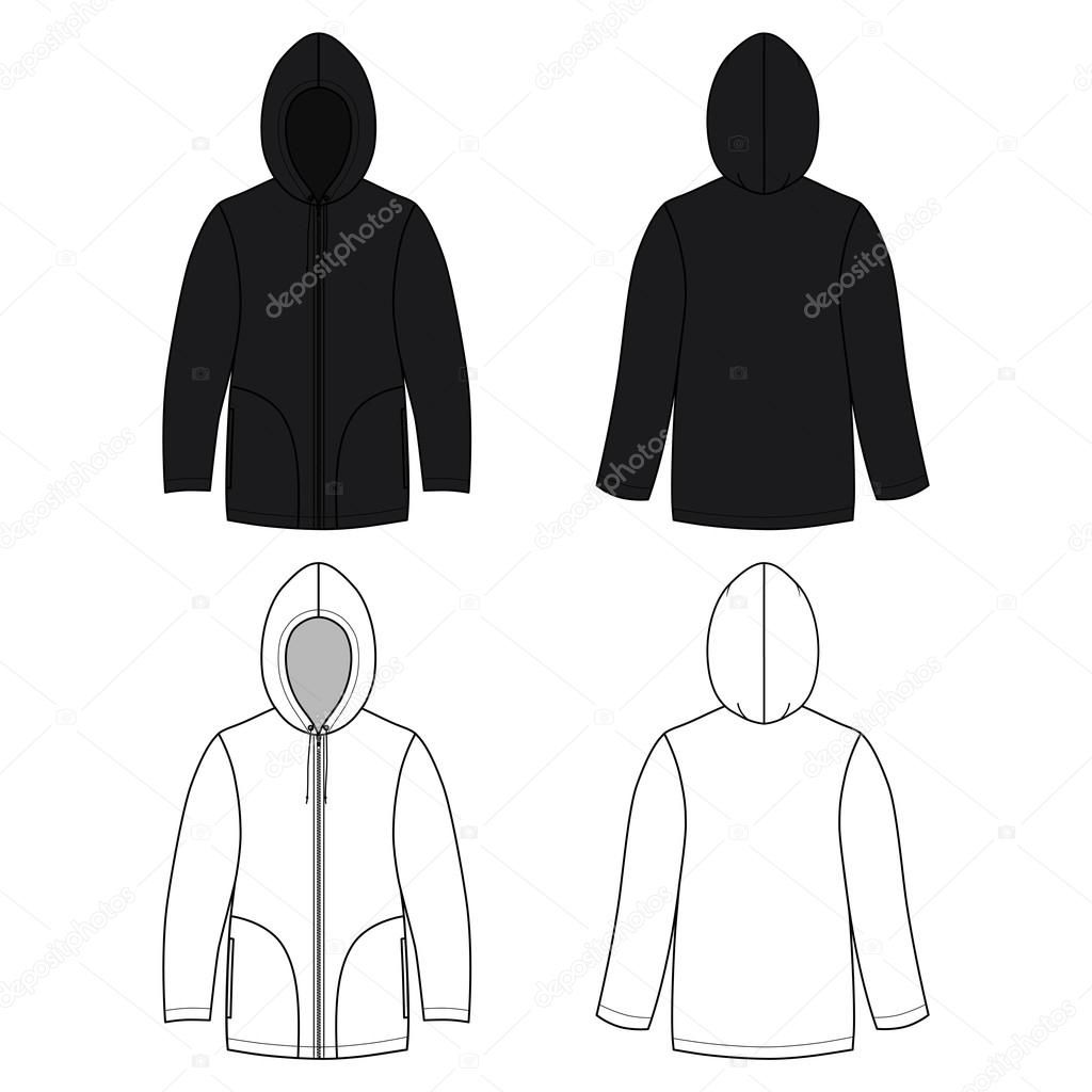 Unisex black leather hoodie (front & back outlined view)