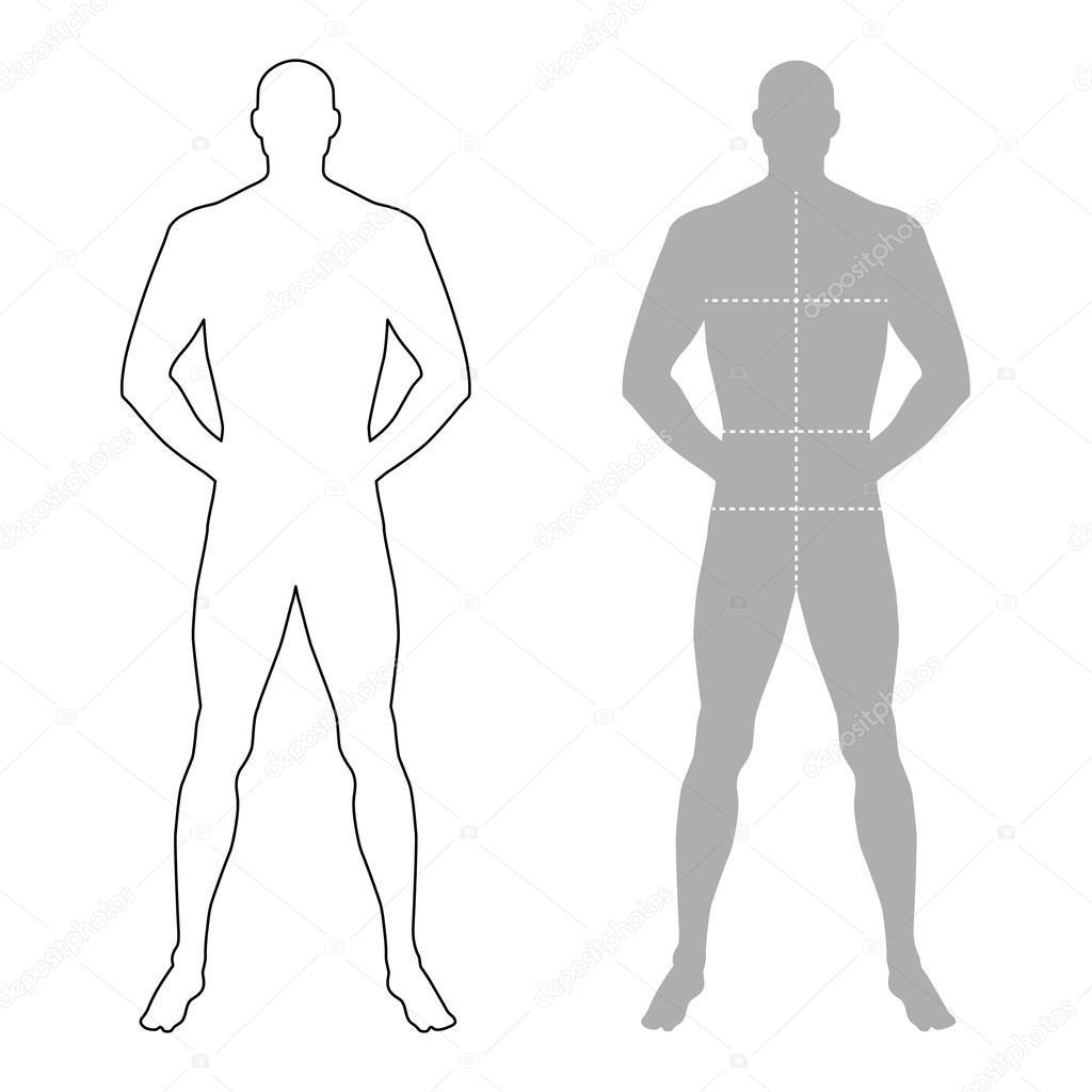 Hombre de moda indica silueta figura de plantilla con el cuerpo ...