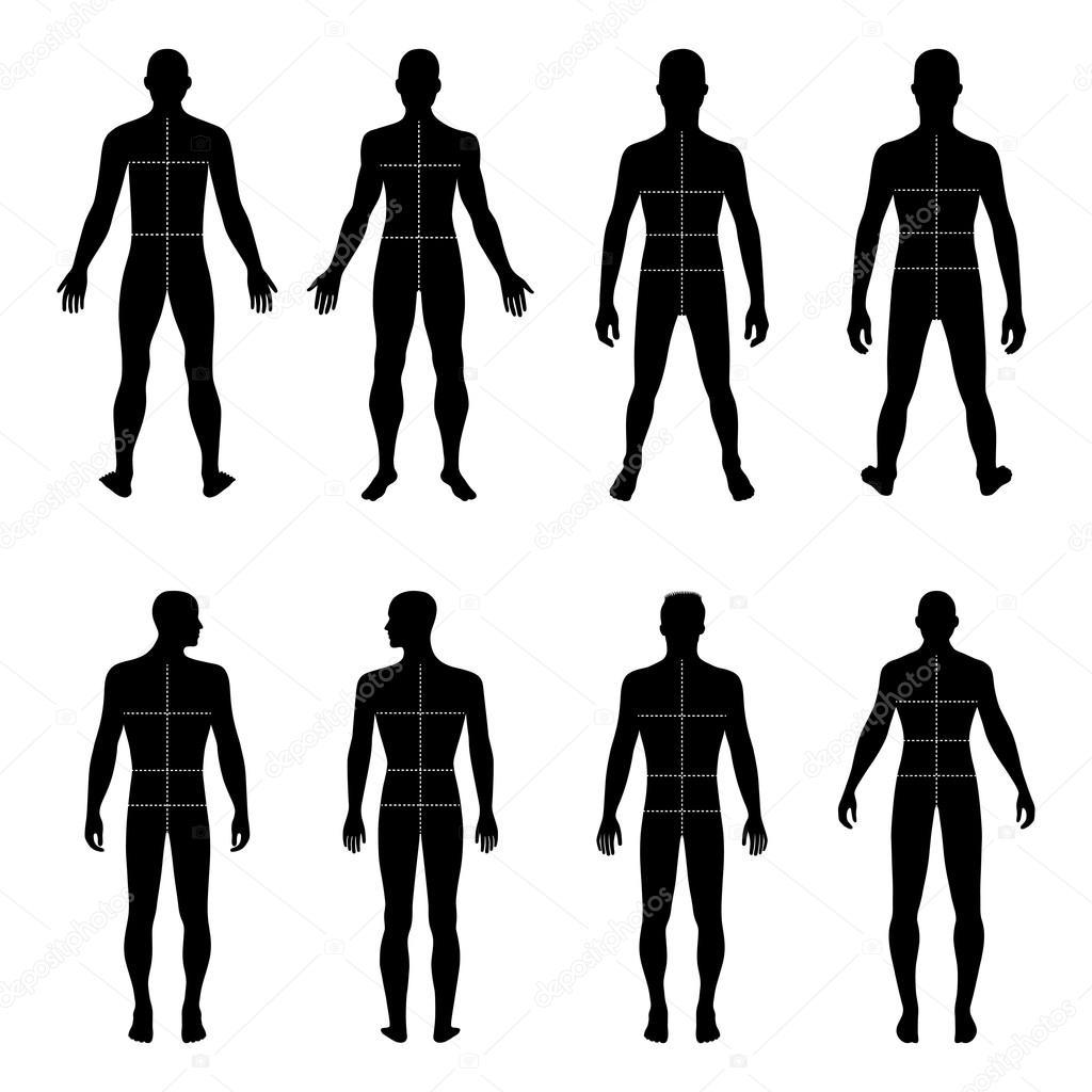 Frente de longitud completa, silueta de hombre de espalda con cuerpo ...