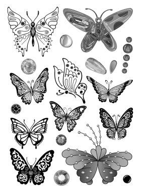 Monochrome butterflies set