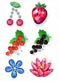 Fényképek Gyümölcs virágok színes drágakövek bross készlet