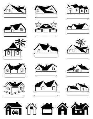 Buildings black logo set isolated on white background, vector illustration stock vector