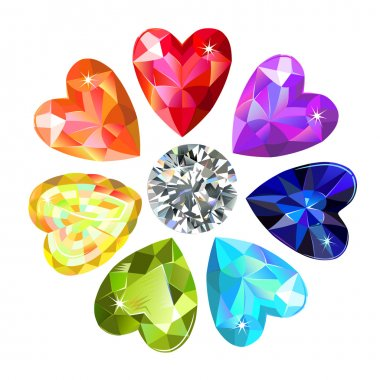 Seamless texture of colored heart cut gems isolated on white bac