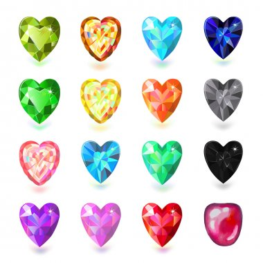 Colored heart cut gems isolated on white background