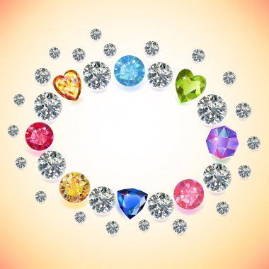 Colored gems oval frame isolated on light background