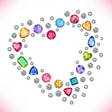 Colored gems heart shape frame isolated on light background