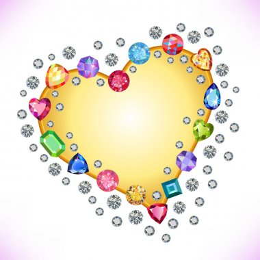 Colored gems heart shape frame