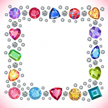 Colored gems square shape frame isolated on light background