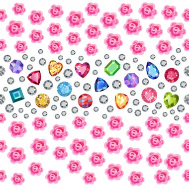 Seamless scattered gems, rhinestones, pearls & roses isolated on