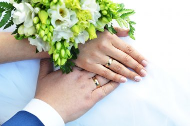 Hands with wedding rings and bouquet stock vector