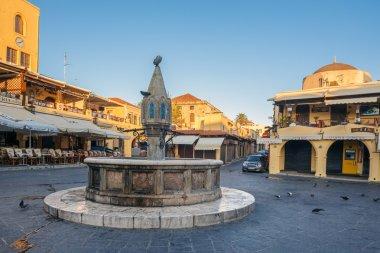 Greece, Rhodes.  Fountain Sidrivani.