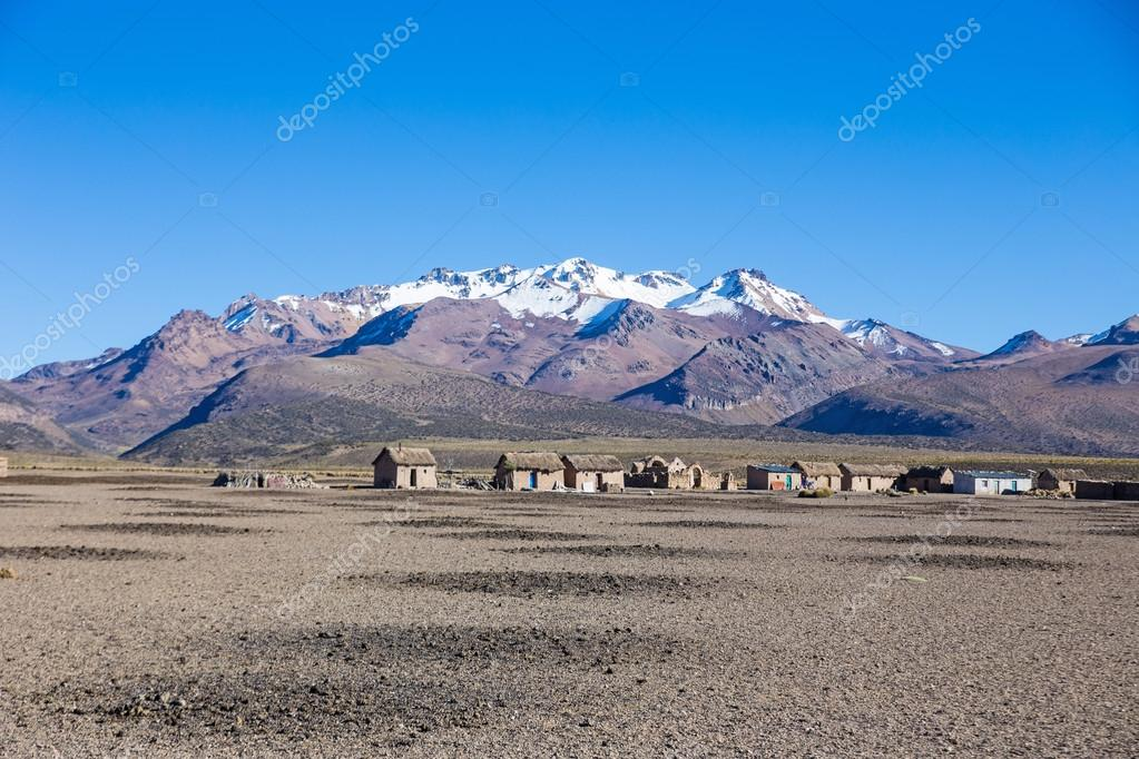 Small village of shepherds of llamas in the Andean mountains. An