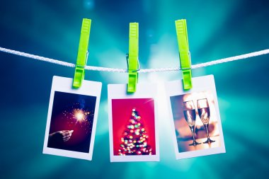 christmas pictures on blue lights background