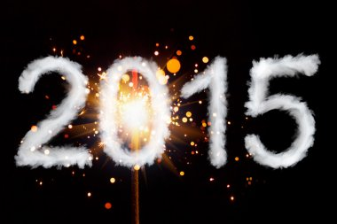 New Year 2015, smoke style digits with sparkler