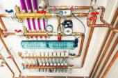 systém podlahového vytápění v kotelně