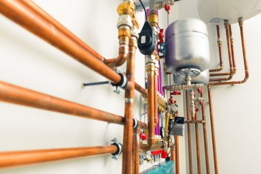 copper pipes engineering in boiler-room