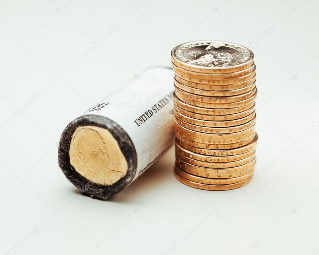 Golden Dollar Münzen Prägen Uns Roll Stockfoto Nikkytok 91920372