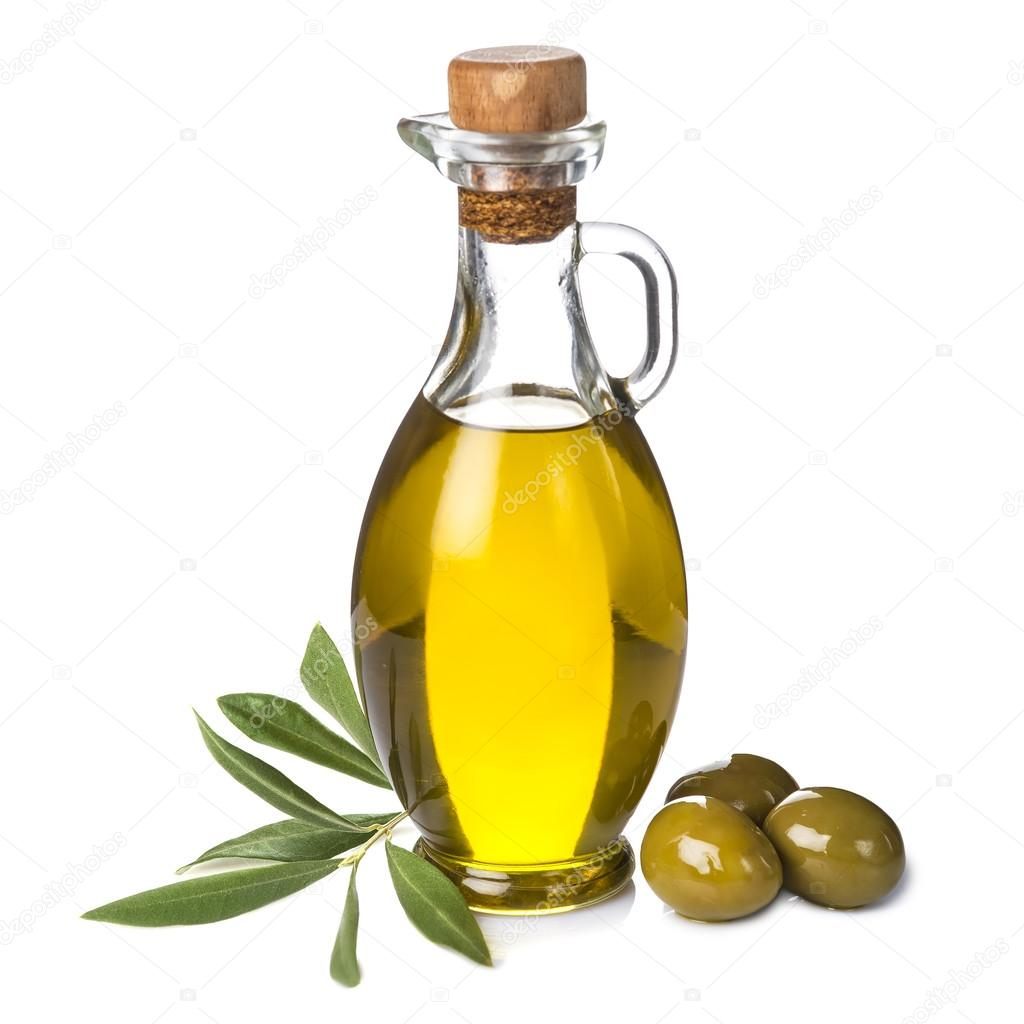 Extra Olive Oil Bottle And Green Olives On White Background