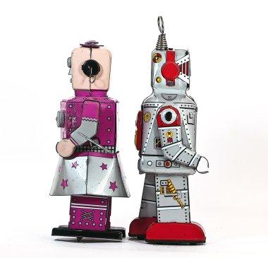 Two tin toy robots