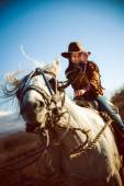 Nettes Mädchen auf einem Pferd