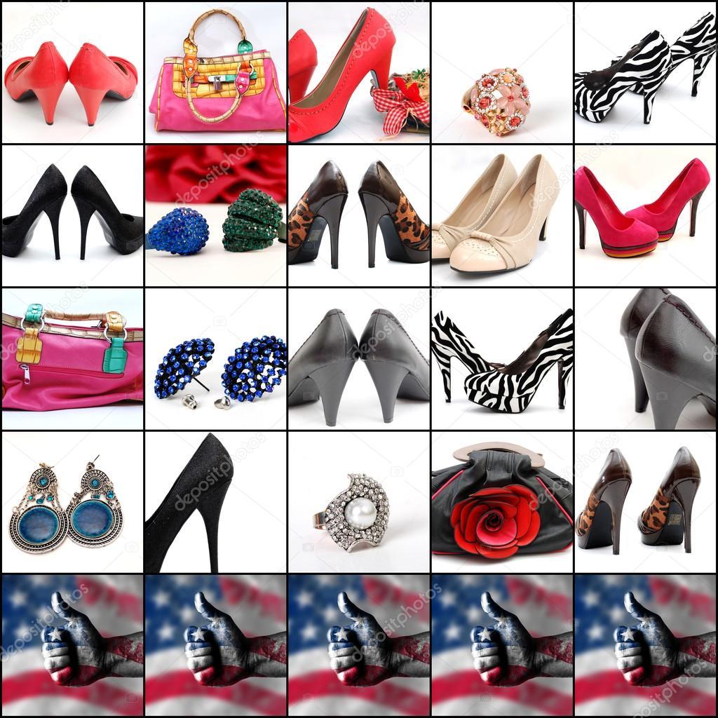 Collage de alta zapatos de tac n bolsos de moda y joyas foto de stock nehruresen 112578590 - Zapatos collage ...