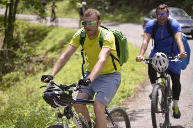 NATIONAL PARK GALICICA,MACEDONIA -JUNE 21, 2015:Bicycle Tour