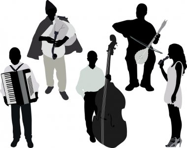 musicians vector silhouette