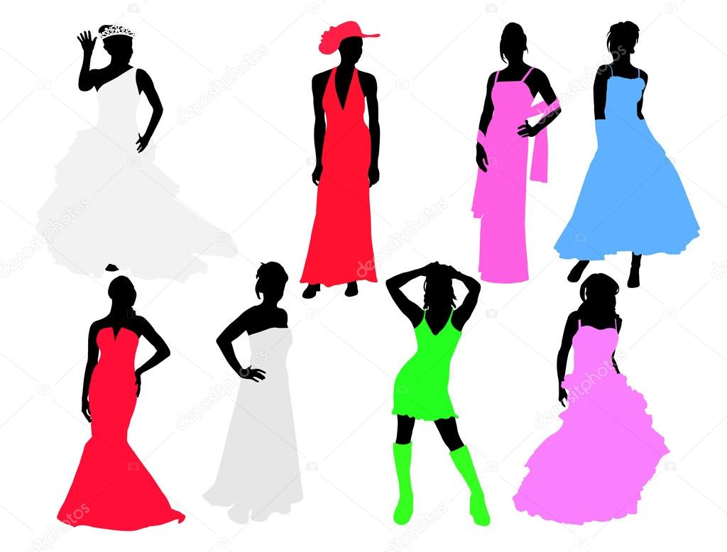 Bride and bridesmaids vector silhouettes