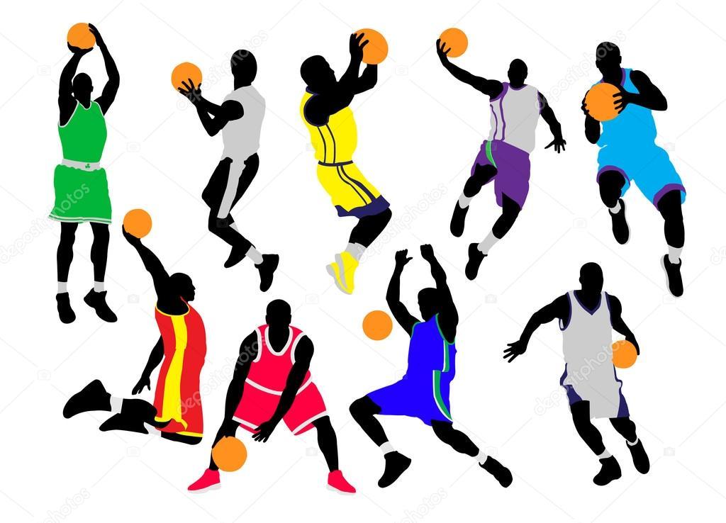 Los Jugadores De Baloncesto Vector Siluetas Archivo