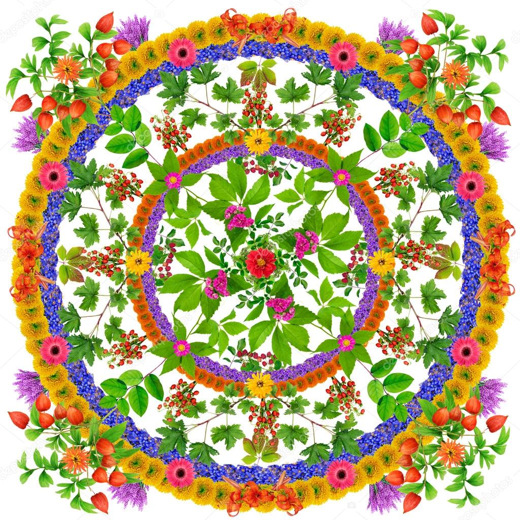 Isolated leaves Happiness mandala