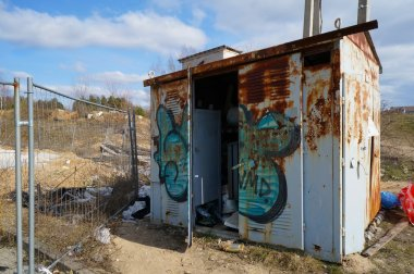 Rusty steel  transformer box