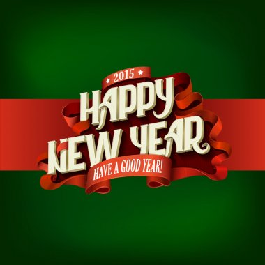 Happy New Year Vintage Typography poster design vector template.