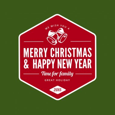 Merry Christmas and Happy New Year type typography Retro style.