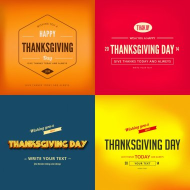 Happy Thanksgiving Day Typography Greeting card Poster design templates set clip art vector