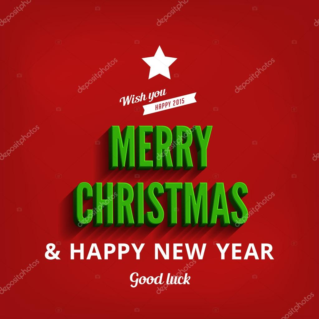 Merry Christmas Happy New Year Greeting Card Vector Design Tem