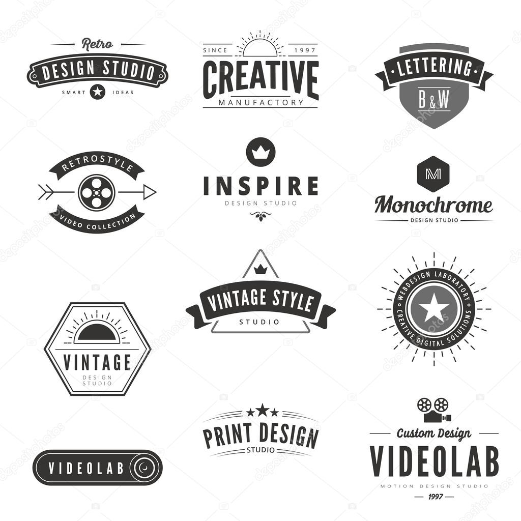 vintage retro logos labels vector template stock vector