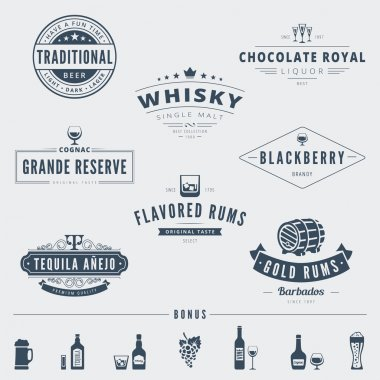 Hipster Logo design vector typography lettering templates. Alcohol Retro Vintage Labels stock vector
