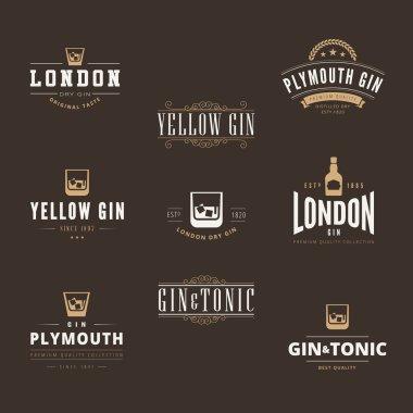 Gin Tonic Retro Vintage Labels Hipster Logo design vector typogr