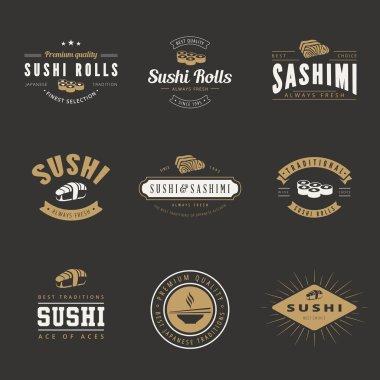 Sushi Rolls Sashimi Retro Vintage Labels Hipster Logo design vec