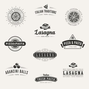 Italian cuisine Retro Vintage Labels Logo design vector typograp