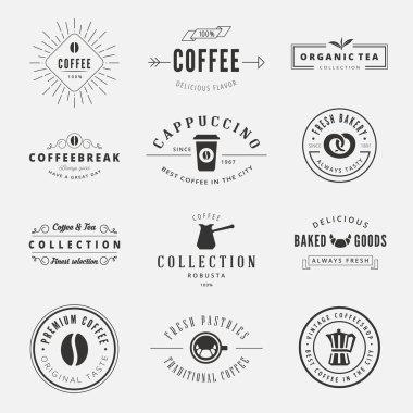 Coffee Retro Vintage Labels Logo design vector typography letter