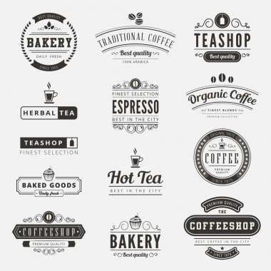 Coffee Retro Vintage Labels Logo design vector typography letter