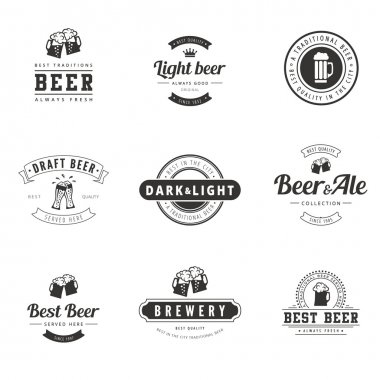 Beer Hipster Logo design vector typography lettering templates.