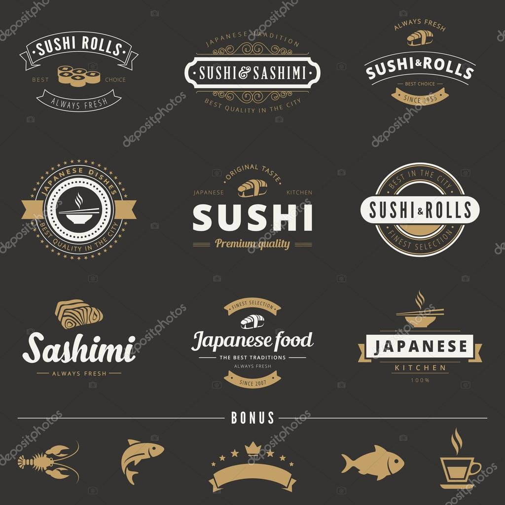 sushi rolls sashimi hipster logo design vector typography letter stock vector 169 sellingpix