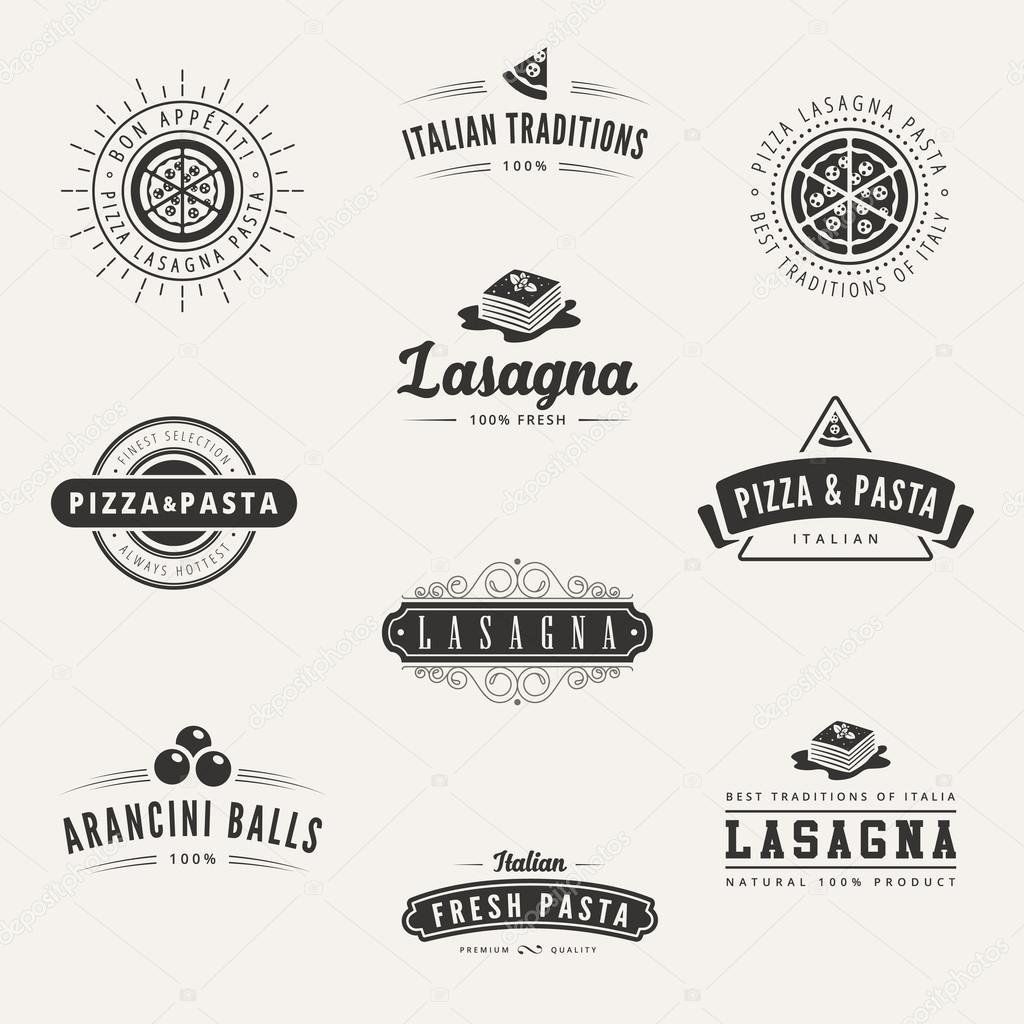 italian cuisine retro vintage labels logo design vector typograp stock vector sellingpix. Black Bedroom Furniture Sets. Home Design Ideas