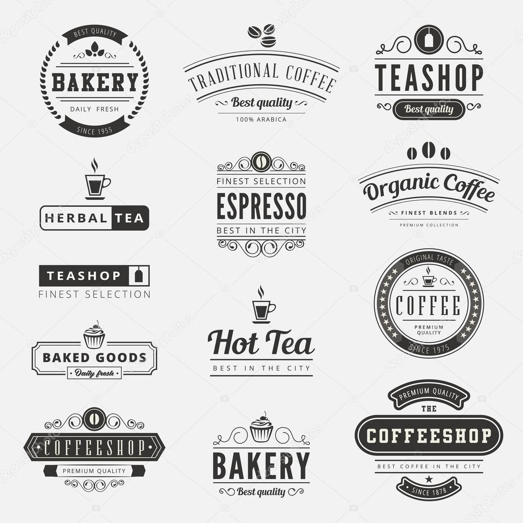 coffee retro vintage labels logo design vector typography letter stock vector 169 sellingpix