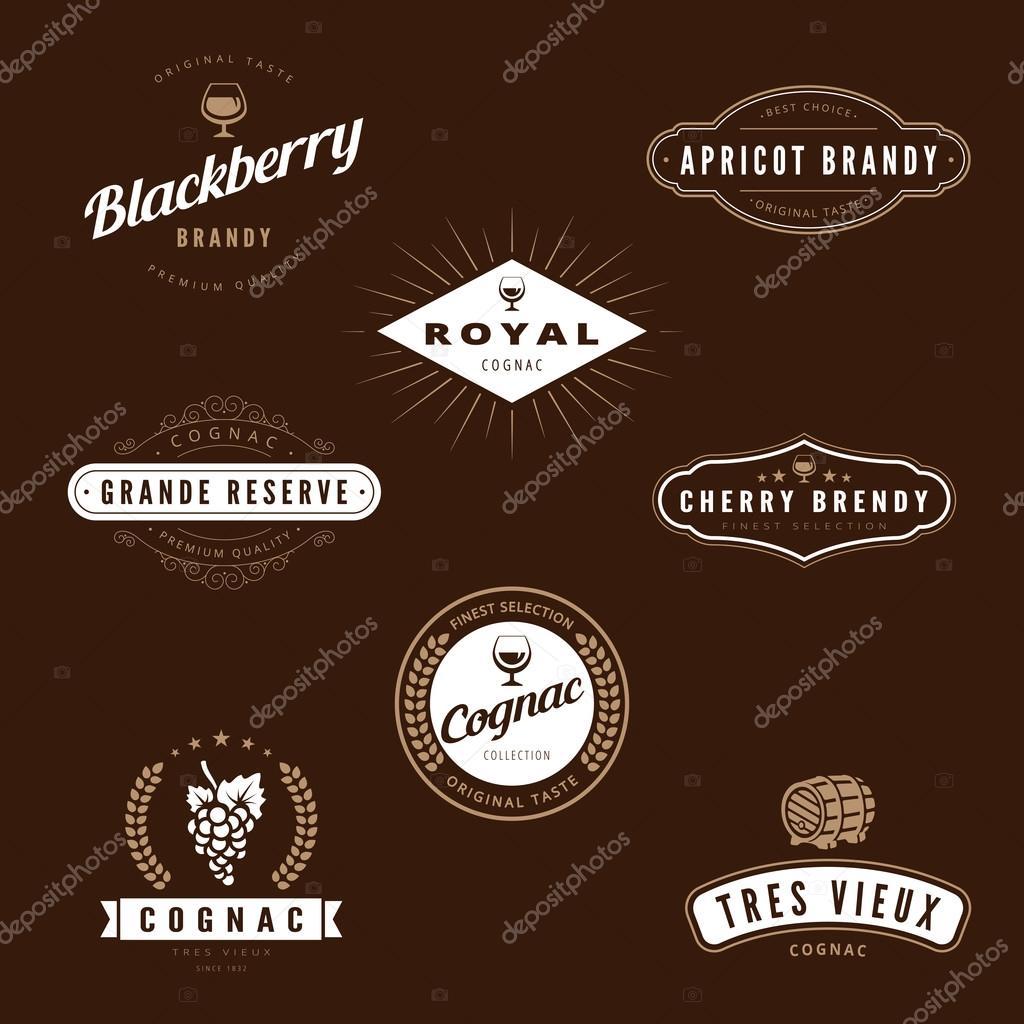 Hipster logo cognac design vector typography lettering for Cognac design