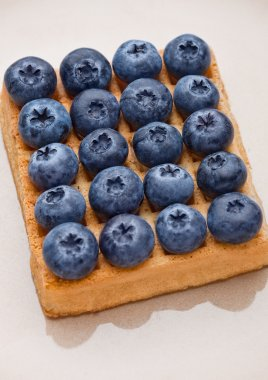 Blueberries on top of sweet waffle on plate closeup