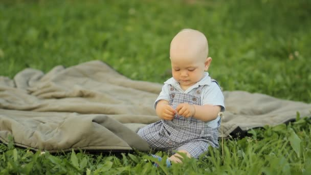 Štěstí chlapeček, který sedí na trávě a hraje na přikrývce v zahradě
