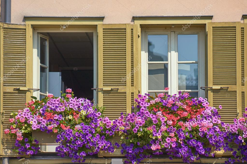 Windows versierd met bloemen huis u2014 stockfoto © gkordus #93322108